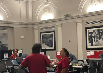 Workers at the Red Cross blood drive