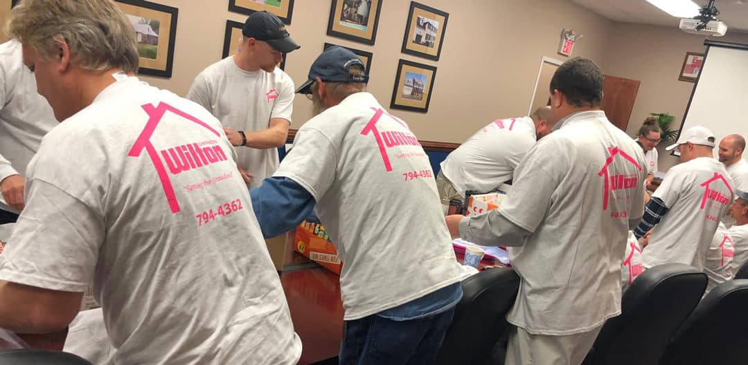 Creating Military Comfort Kits IN PINK with our Wilton Staff, Powhatan C&F Bank's Mary Moniz, and Contractor Connection's Ken Geon!